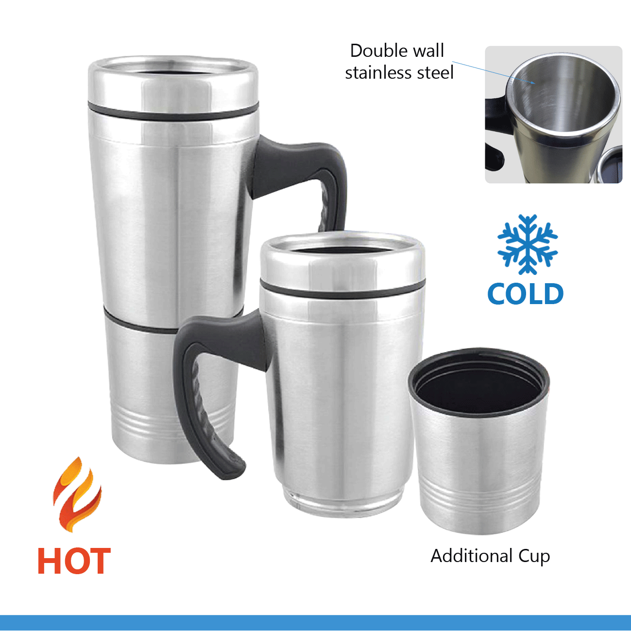 Travel Stainless Steel Mug with Cup